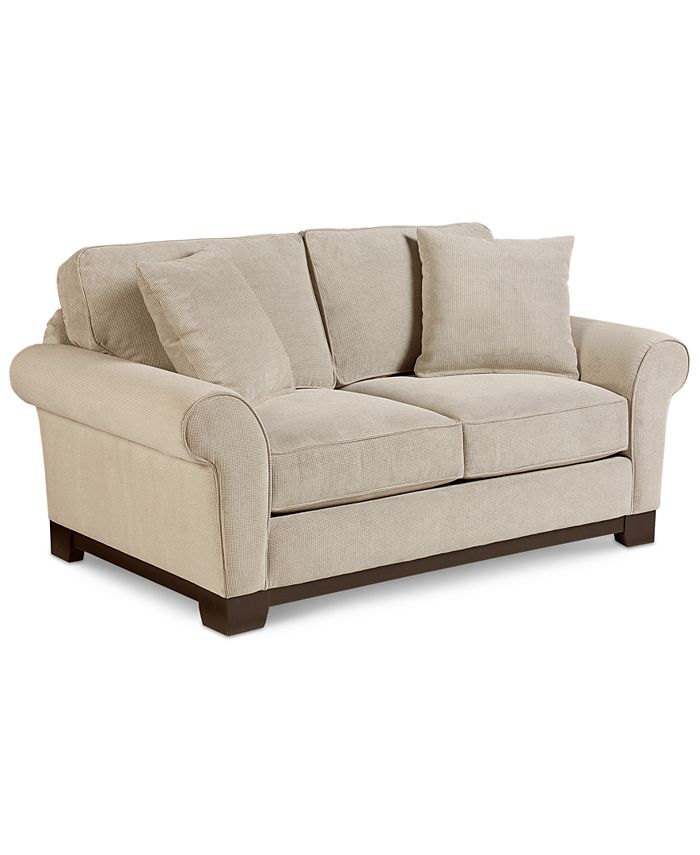 Furniture Closeout Medland 69 Fabric Roll Arm Loveseat With 2 Pillows Created For Macy S Reviews Furniture Macy S