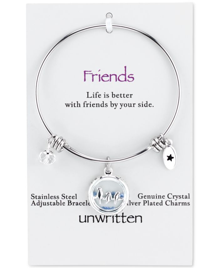 Unwritten Bird Charm Bangle Bracelet in Stainless Steel with Silver Plated Charms & Reviews - Bracelets - Jewelry & Watches - Macy's
