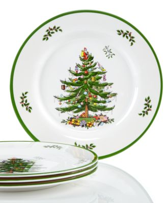 CLOSEOUT! Christmas Tree Melamine Dinner Plate, Set of 4