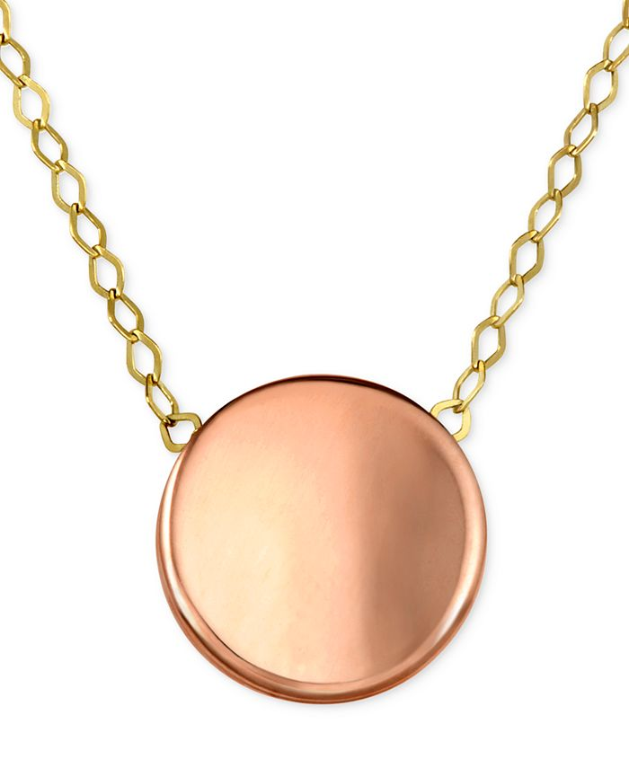 Macy's - Polished Concave Disc Pendant Necklace in 10k Gold