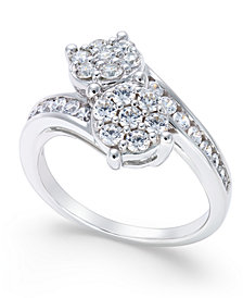 Diamond Bypass Ring (1 ct. t.w.) in 14k White Gold