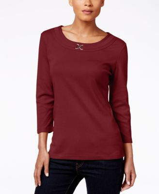 Image of Karen Scott Scoop-Neck Embellished Top, Only at Macy's