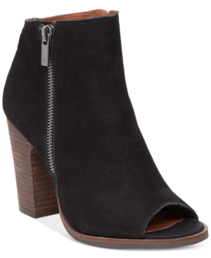 Lucky Brand Lamija Peep-Toe Block-Heel Booties Women's Shoes