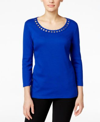 Image of Karen Scott Cutout Scoop-Neck Top, Only at Macy's