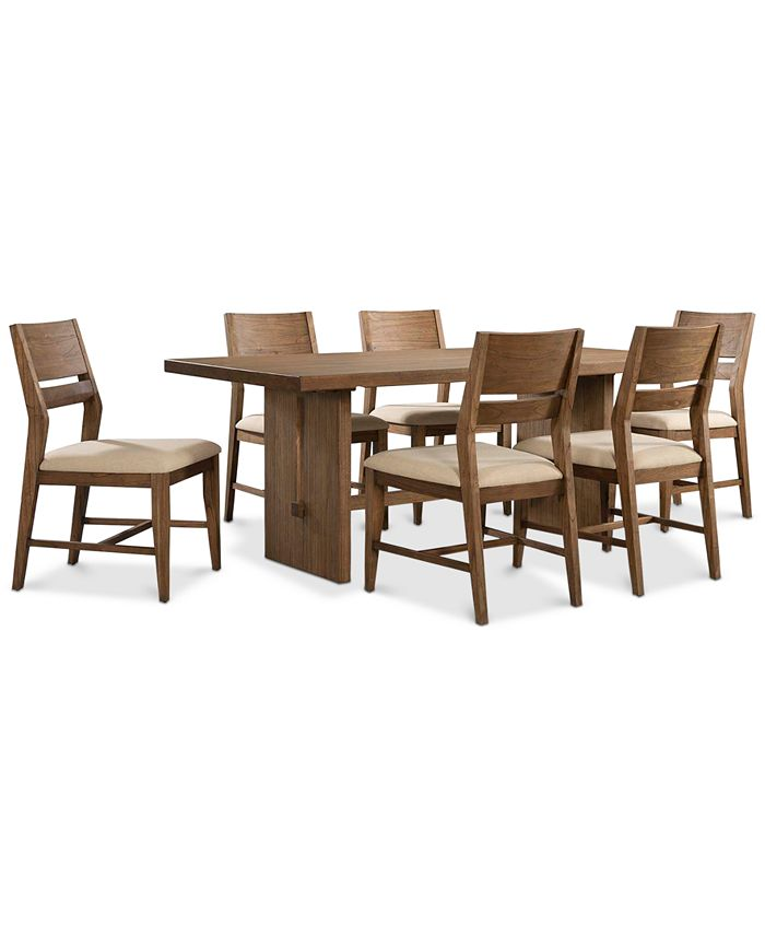 Furniture Closeout Athena 7 Pc Dining Set Dining Trestle Table 6 Side Chairs Reviews Furniture Macy S