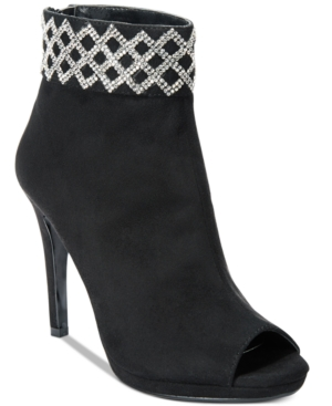 Caparros Electra Embellished-Cuff Peep-Toe Booties Women's Shoes