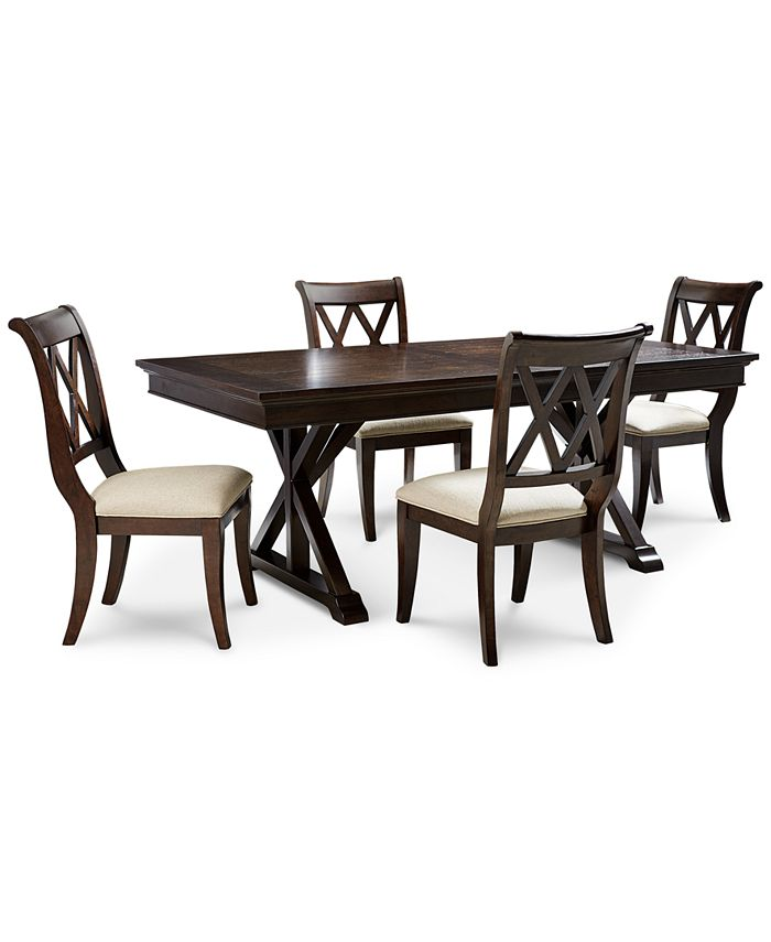 Furniture Baker Street Dining Furniture 5 Pc Set Dining Trestle Table 4 Side Chairs Reviews Furniture Macy S