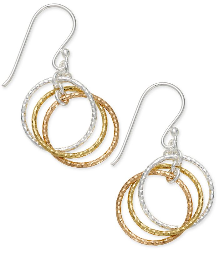 Giani Bernini - Tri-Tone Interlocking Circle Drop Earrings in Sterling Silver, Gold-Plated Sterling Silver and Rose Gold-Plated Sterling Silver