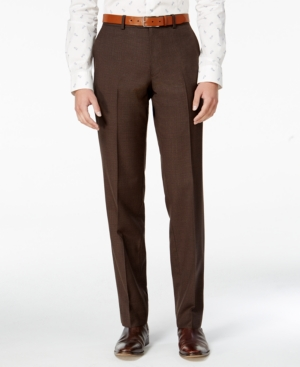 1920s Style Men's Pants & Plus Four Knickers Bar Iii Mens Slim-Fit Brown Mini-Check Dress Pants Only at Macys $42.99 AT vintagedancer.com