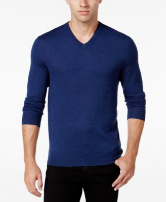 Image of Club Room Men's Merino Blend V-Neck Sweater, Classic Fit