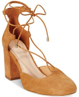 lace up pumps block heel