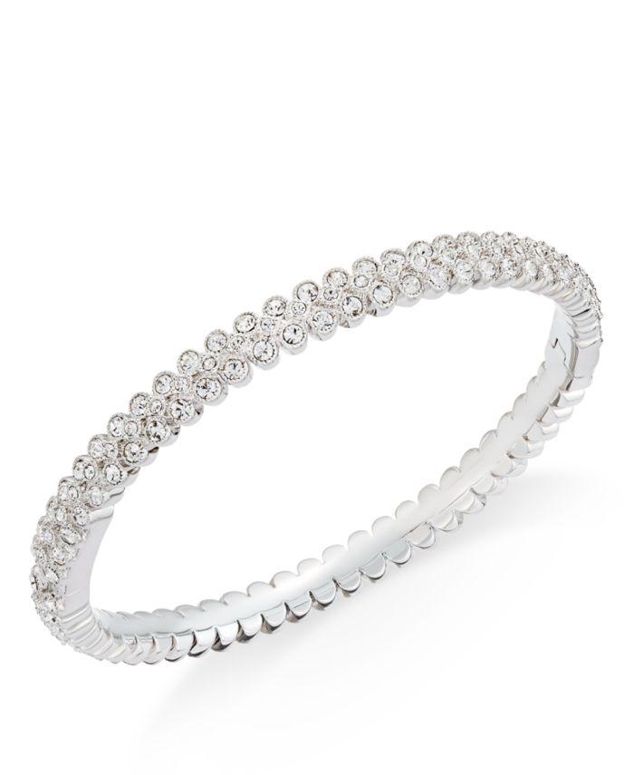 Eliot Danori Silver-Tone Crystal Pavé Bangle Bracelet, Created for Macy's & Reviews - Bracelets - Jewelry & Watches - Macy's