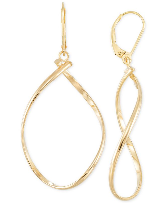 Italian Gold Polished Twist Illusion Drop Earrings in 14k Gold