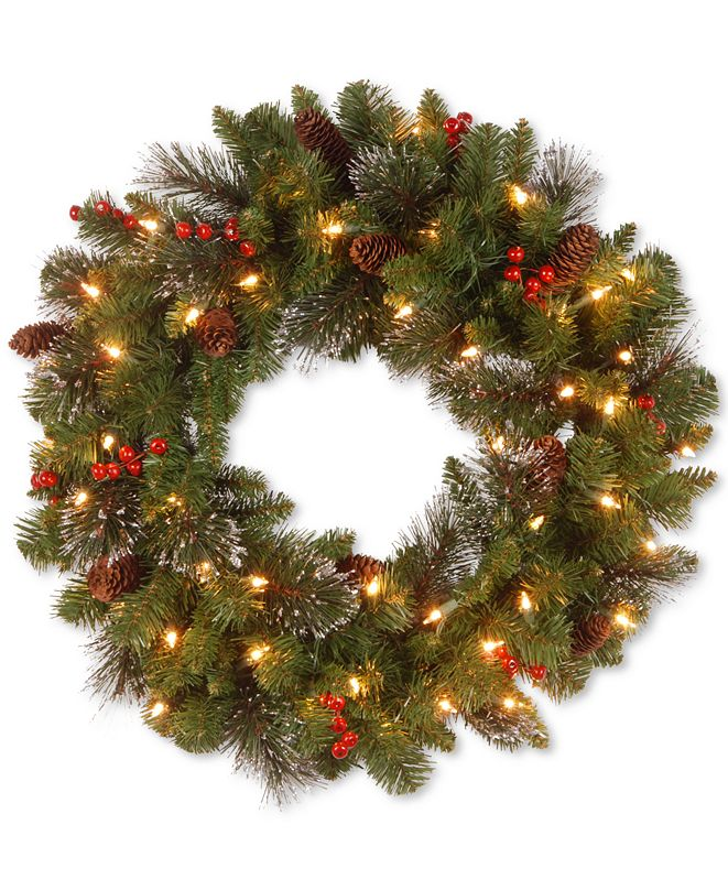 """National Tree Company 24"""" Crestwood Spruce Wreath with Silver Bristle, Cones, Red Berries and Glitter with 50 Clear Lights"""