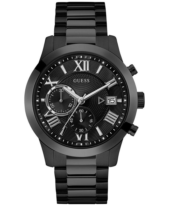 GUESS - Men's Chronograph Black Stainless Steel Bracelet Watch 45mm U0668G5