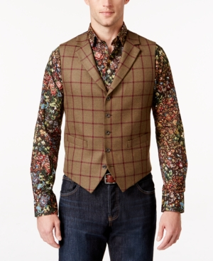DressinGreatGatsbyClothesforMen Tallia Mens Windowpane Vest $99.50 AT vintagedancer.com
