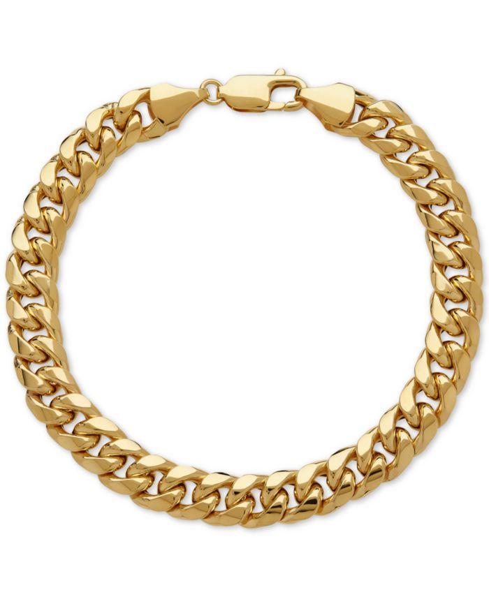 Italian Gold Men's Cuban Link Bracelet in 10k Gold & Reviews - Bracelets - Jewelry & Watches - Macy's