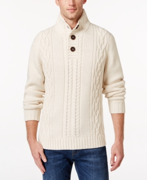 Men's Vintage Style Sweaters – 1920s to 1960s Weatherproof Vintage Mens Big and Tall Cable-Knit Sweater Only at Macys $49.99 AT vintagedancer.com