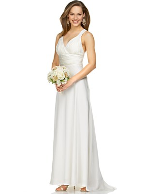 Calvin Klein Silk Gown with Beaded Straps - Dresses - Women's  - Macy's :  bridal calvin klein silk gown with beaded straps wedding dresses calvin klein