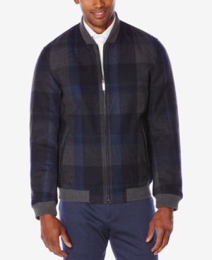 Men's Vintage Style Coats and Jackets Perry Ellis Mens Plaid Bomber Jacket $225.00 AT vintagedancer.com