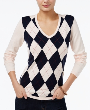Ladies Colorful 1920s Sweaters and Cardigans History Tommy Hilfiger Ivy V-Neck Argyle Sweater Only at Macys $22.99 AT vintagedancer.com