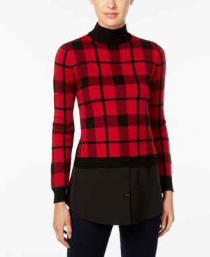 Retro Vintage Sweaters Style  Co. Plaid Layered-Look Sweater Only at Macys $38.99 AT vintagedancer.com