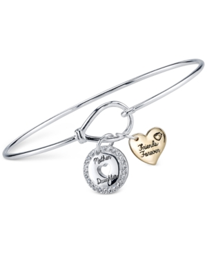 Unwritten Two-Tone Mother-Daughter Charm Bangle Bracelet in Sterling Silver and Gold-Plate