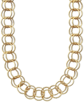 Betsey Johnson Textured Round-Link Necklace