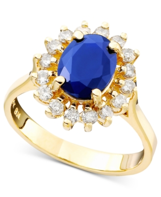 14k Gold Sapphire (1-9/10 ct. t.w.) & Diamond (1/2 ct. t.w.) Lady Di Ring