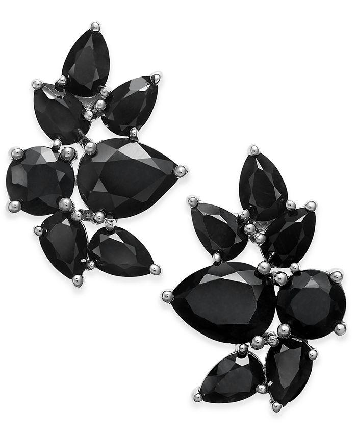 Macy's - Black Sapphire Fancy Stud Earrings (10 ct. t.w.) in Sterling Silver