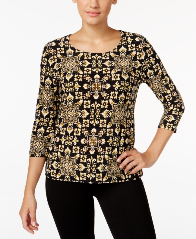 Jm Collection Petite Printed Jacquard Top Only at Macys | Clothing