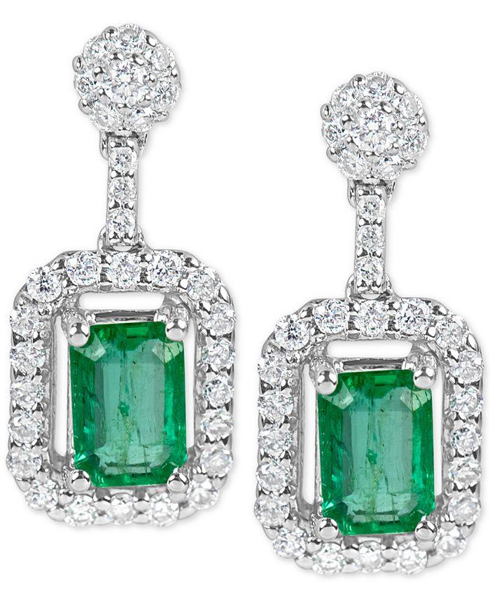 Macy's - Emerald (1-1/5 ct. t.w.) and Diamond (1/2 ct. t.w.) Drop Earrings in 14k White Gold