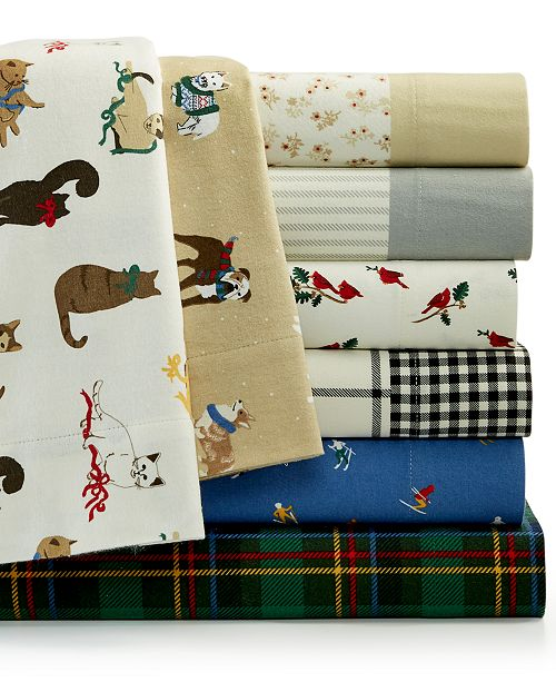 Martha Stewart Collection Printed Cotton Flannel Sheet Sets Created For Macy S Reviews Sheets Pillowcases Bed Bath Macy S