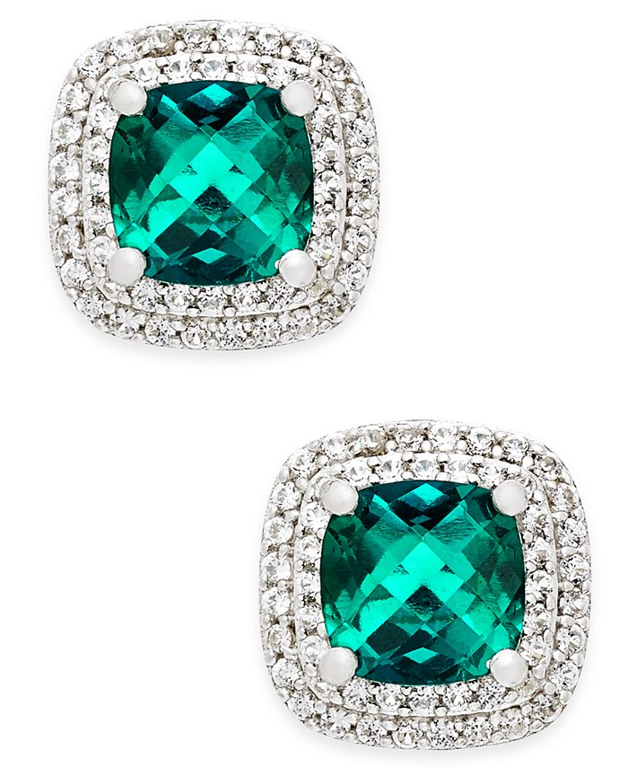 Macy's - Lab-Created Emerald (1-1/3 ct. t.w.) and White Sapphire (1/3 ct. t.w.) Square Stud Earrings in Sterling Silver