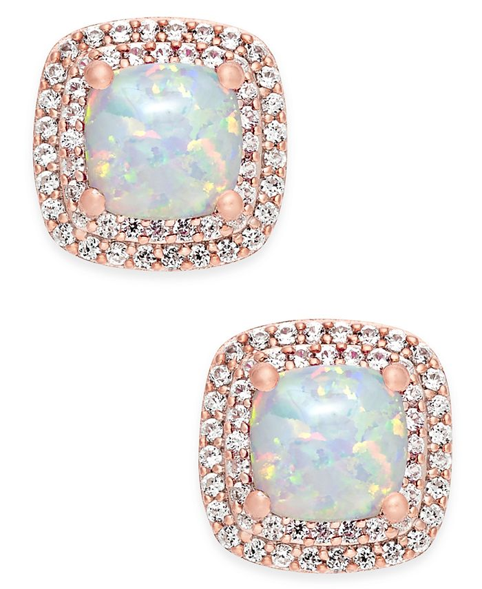 Macy's - Lab-Created Opal (3/4 ct. t.w.) and White Sapphire (1/3 ct. t.w.) Square Stud Earrings in 14k Rose Gold-Plated Sterling Silver