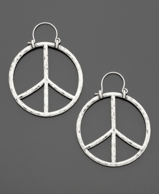 Lucky Brand Silvertone Peace Sign Earrings