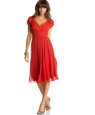 Suzi Chin Silk Chiffon Empire-Waist Dress in Tomato