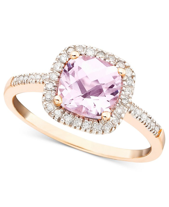 Macy's - Pink Amethyst (1-1/3 ct. t.w.) and Diamond (1/5 ct. t.w.) Ring in 10k Rose Gold