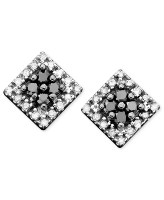14k White Gold Black & White Diamond Stud Earring (1/4 ct. t.w.)