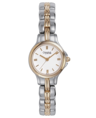 Caravelle by Bulova Watch, Women's Two Tone Bracelet 45L27