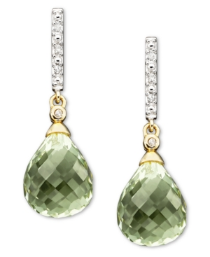 14k Gold Earrings, Green Quartz (8-1/5 ct. t.w.) and Diamond Accent Drop