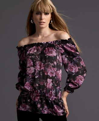 INC International Concepts® Floral Silk Off-the-Shoulder Peasant Top - Tops - Women's - Macy's