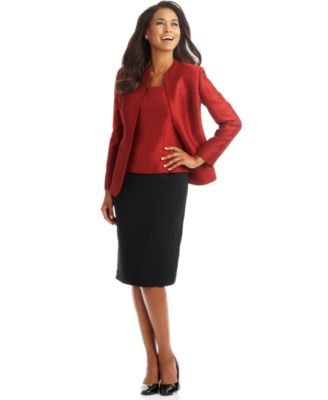 Kasper Plus Size Three-Piece Flyaway Shimmer Skirt Suit