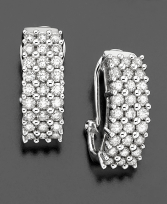 14k White Gold Diamond Hoop Earrings (1-1/2 ct. t.w.)