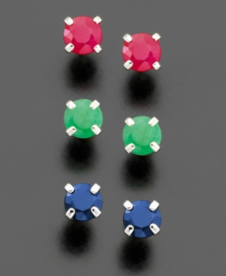 18k Gold Over Sterling Silver Ruby, Sapphire, & Emerald Stud Set