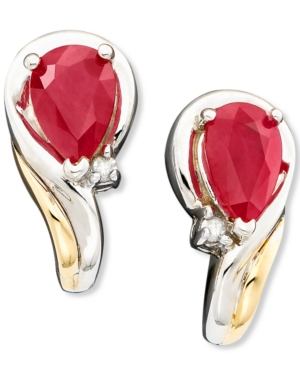 14k Gold & Sterling Silver Ruby (1 ct. t.w.) & Diamond Accent Earrings