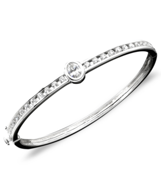 CRISLU Sterling Silver Cubic Zirconia Bangle Bracelet (2 ct. t.w.)