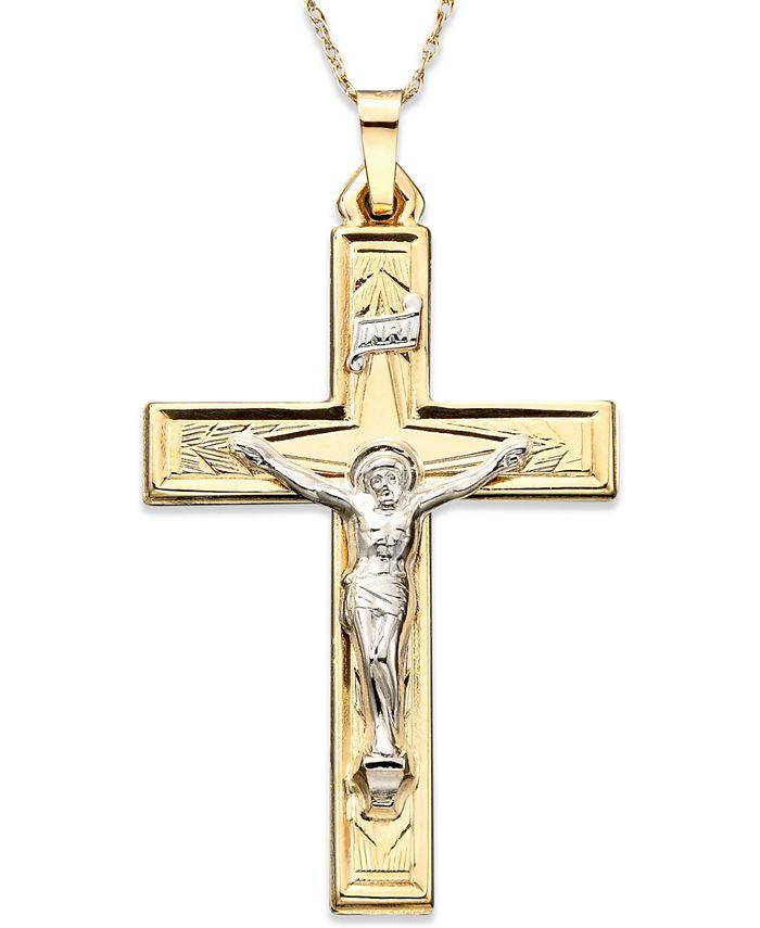 Macy's - 14k Gold Two-Tone Large Crucifix Pendant