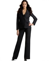 Calvin Klein One-Button Pinstriped Pant Suit