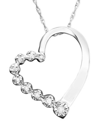 14k White Gold Diamond Journey Heart Pendant (1/10 ct. t.w.)